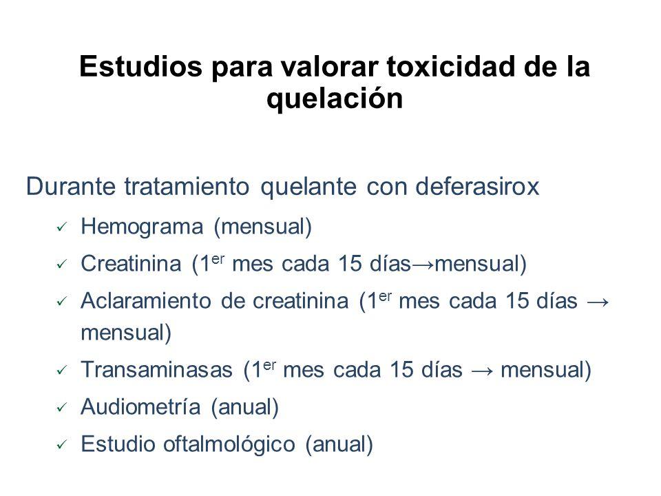 Estudios para valorar toxicidad de la quelación Durante tratamiento quelante con deferasirox Hemograma (mensual) Creatinina (1 er mes cada 15 díasmens