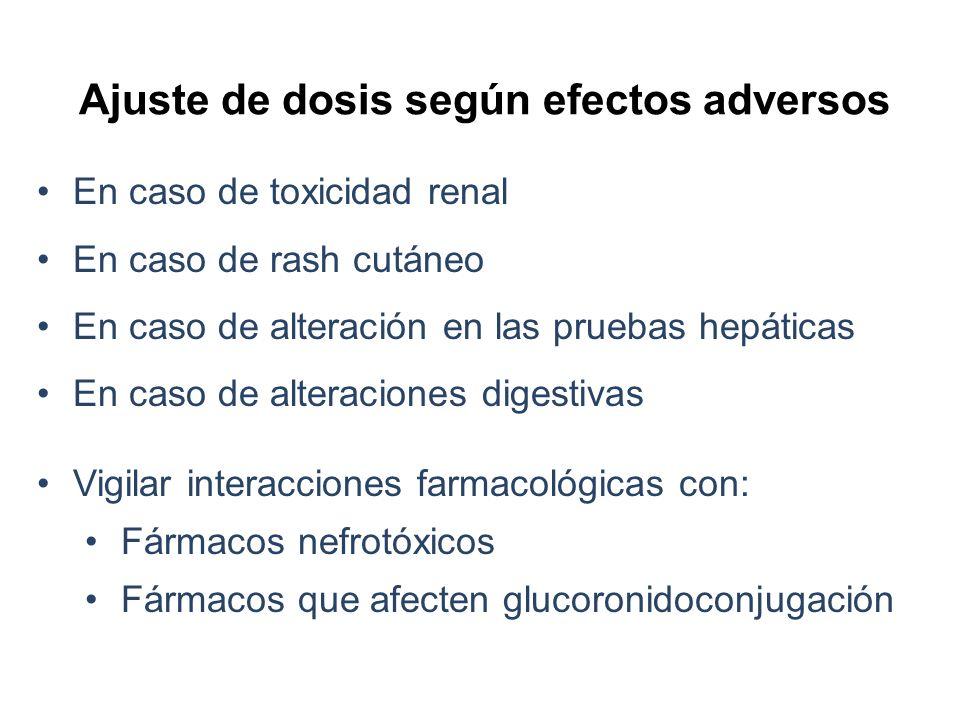 Ajuste de dosis según efectos adversos En caso de toxicidad renal En caso de rash cutáneo En caso de alteración en las pruebas hepáticas En caso de al