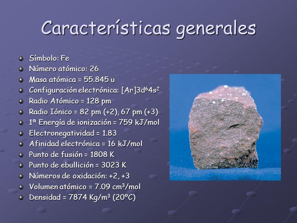 Características generales Símbolo: Fe Número atómico: 26 Masa atómica = 55.845 u Configuración electrónica: [Ar]3d 6 4s 2 Radio Atómico = 128 pm Radio
