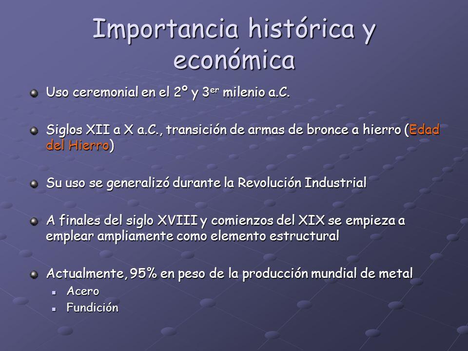 Importancia histórica y económica Uso ceremonial en el 2º y 3 er milenio a.C. Siglos XII a X a.C., transición de armas de bronce a hierro (Edad del Hi