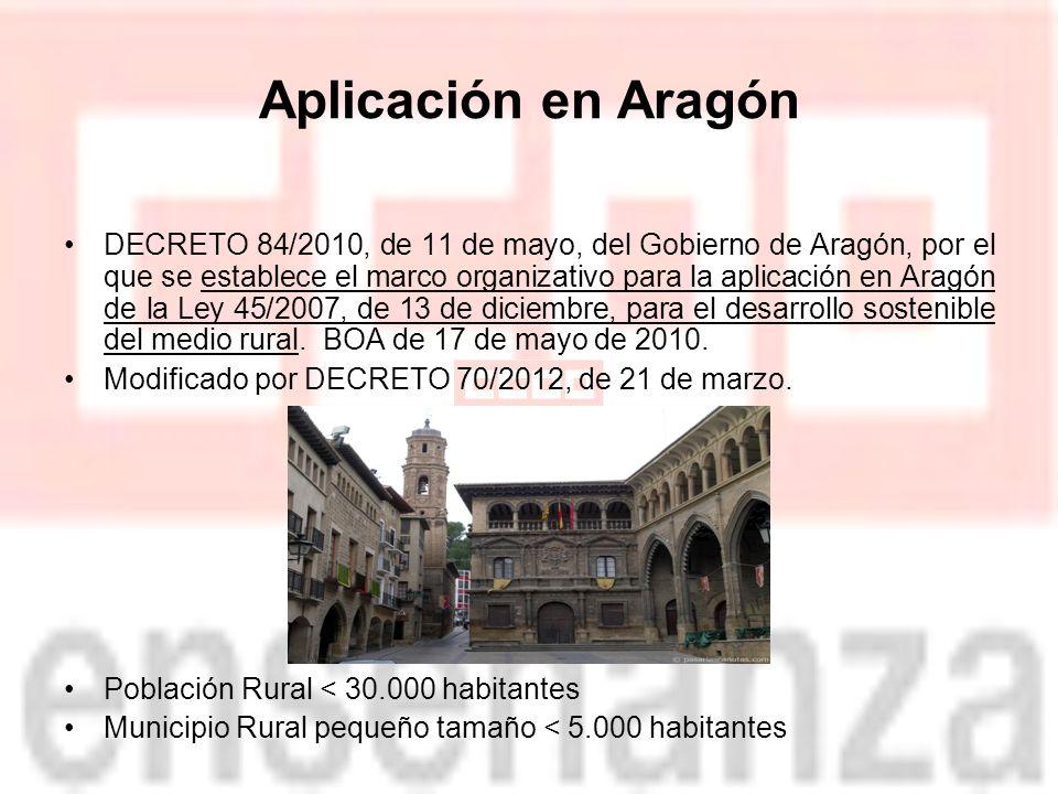 Aplicación en Aragón DECRETO 84/2010, de 11 de mayo, del Gobierno de Aragón, por el que se establece el marco organizativo para la aplicación en Aragón de la Ley 45/2007, de 13 de diciembre, para el desarrollo sostenible del medio rural.