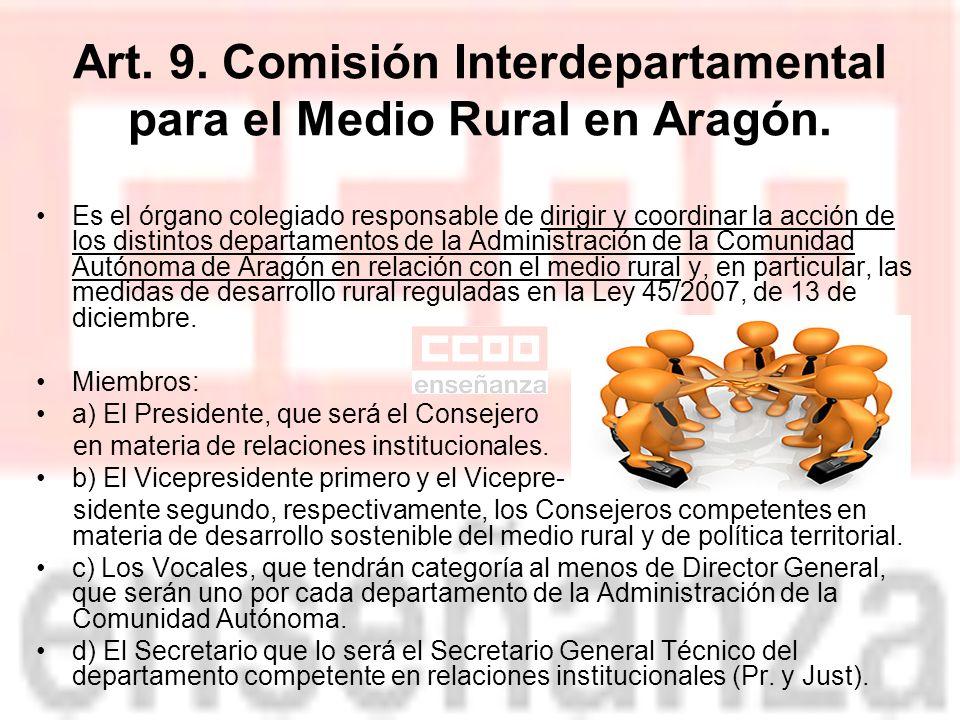 Art.9. Comisión Interdepartamental para el Medio Rural en Aragón.