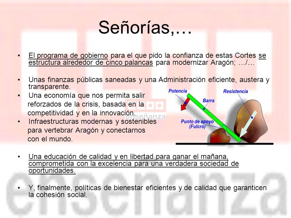 Señorías,… El programa de gobierno para el que pido la confianza de estas Cortes se estructura alrededor de cinco palancas para modernizar Aragón; …/… Unas finanzas públicas saneadas y una Administración eficiente, austera y transparente.