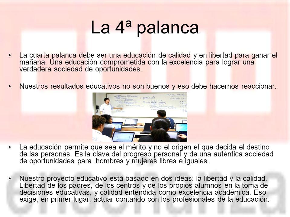 La 4ª palanca La cuarta palanca debe ser una educación de calidad y en libertad para ganar el mañana.
