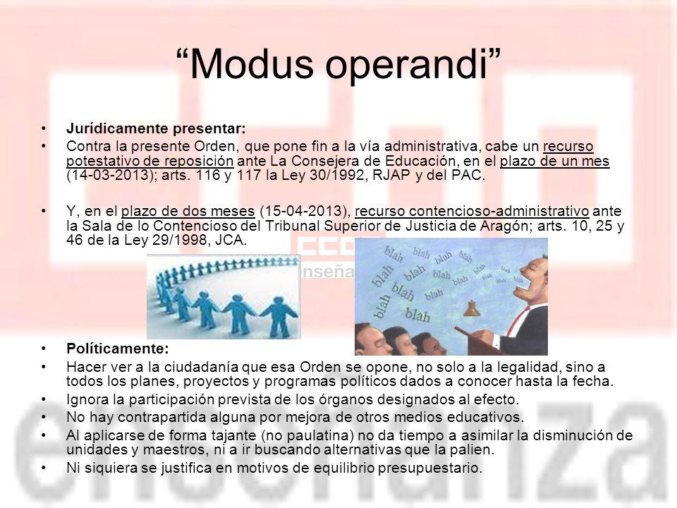 Modus operandi Jurídicamente presentar: Contra la presente Orden, que pone fin a la vía administrativa, cabe un recurso potestativo de reposición ante La Consejera de Educación, en el plazo de un mes (14-03-2013); arts.