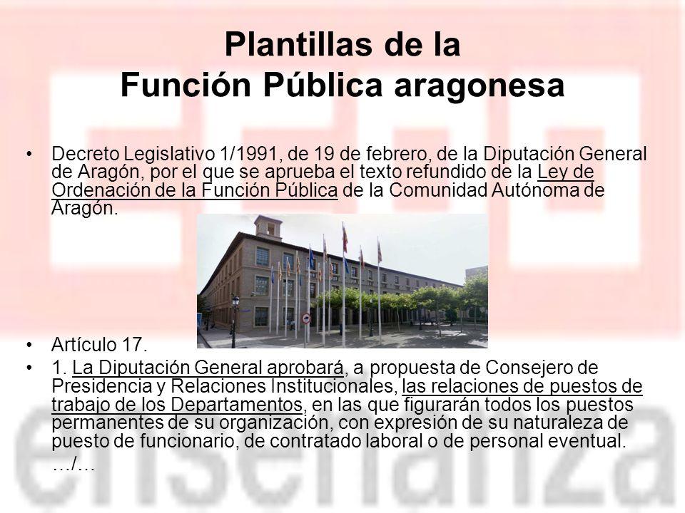 Plantillas de la Función Pública aragonesa Decreto Legislativo 1/1991, de 19 de febrero, de la Diputación General de Aragón, por el que se aprueba el texto refundido de la Ley de Ordenación de la Función Pública de la Comunidad Autónoma de Aragón.