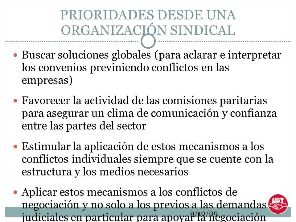 9/10/09 PRIORIDADES DESDE UNA ORGANIZACIÓN SINDICAL Buscar soluciones globales (para aclarar e interpretar los convenios previniendo conflictos en las