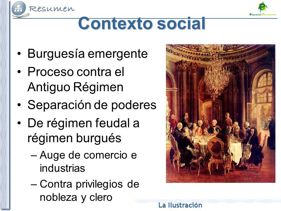 La Ilustración Contexto social Burguesía emergente Proceso contra el Antiguo Régimen Separación de poderes De régimen feudal a régimen burgués –Auge d
