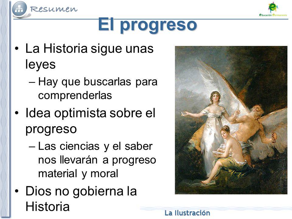 La Ilustración El progreso La Historia sigue unas leyes –Hay que buscarlas para comprenderlas Idea optimista sobre el progreso –Las ciencias y el sabe