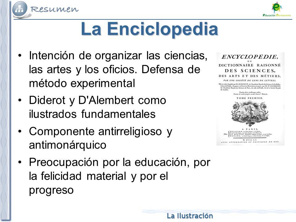 La Ilustración La Enciclopedia Intención de organizar las ciencias, las artes y los oficios. Defensa de método experimental Diderot y D'Alembert como
