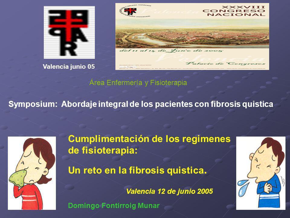 Cumplimentación de los regimenes de fisioterapia: Un reto en la fibrosis quistica. Valencia 12 de junio 2005 Domingo Fontirroig Munar Valencia junio 0