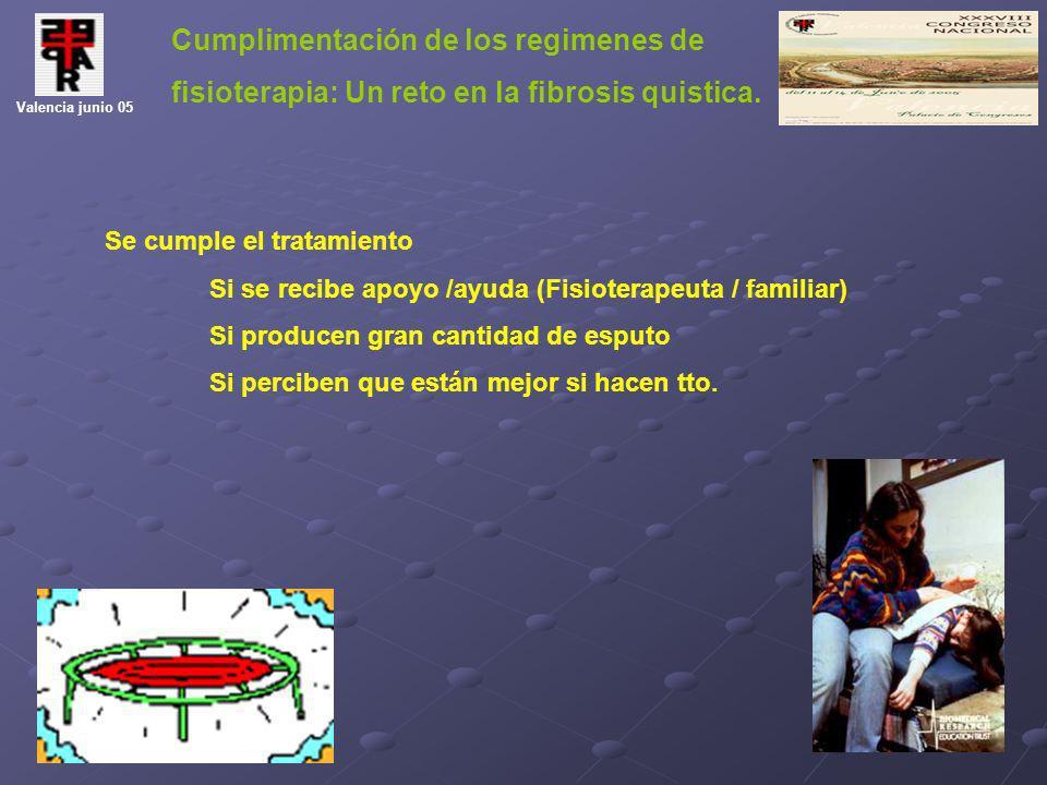 Cumplimentación de los regimenes de fisioterapia: Un reto en la fibrosis quistica. Valencia junio 05 Se cumple el tratamiento Si se recibe apoyo /ayud