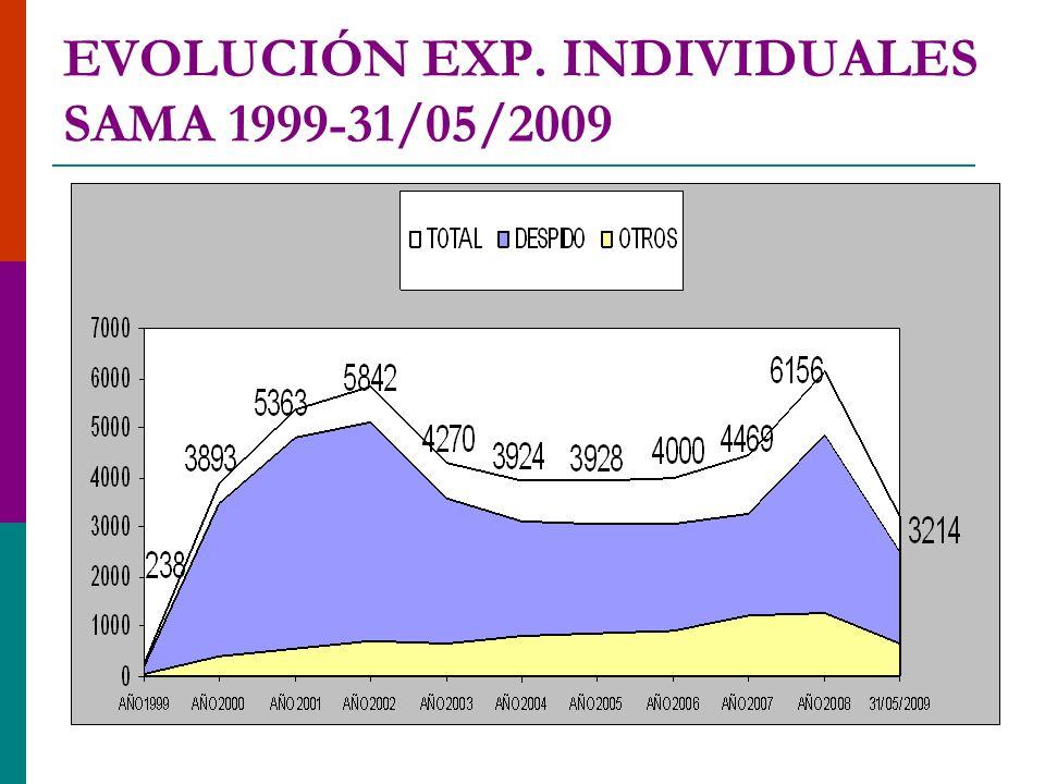 EVOLUCIÓN EXP. INDIVIDUALES SAMA 1999-31/05/2009