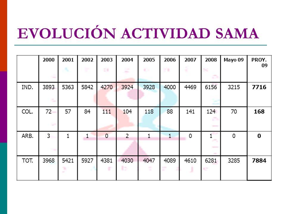 EVOLUCIÓN ACTIVIDAD SAMA 200020012002200320042005200620072008Mayo 09PROY.