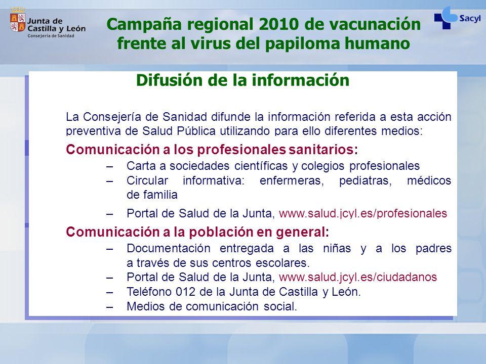 Difusión de la información La Consejería de Sanidad difunde la información referida a esta acción preventiva de Salud Pública utilizando para ello dif