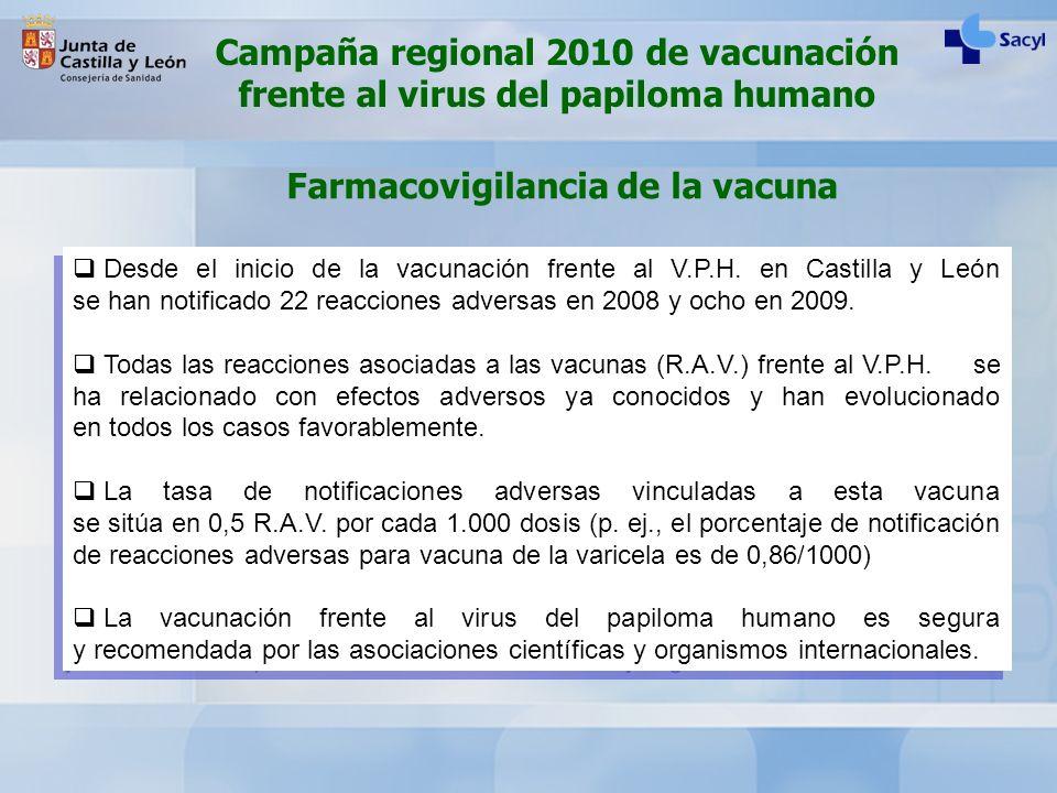 Desde el inicio de la vacunación frente al V.P.H. en Castilla y León se han notificado 22 reacciones adversas en 2008 y ocho en 2009. Todas las reacci