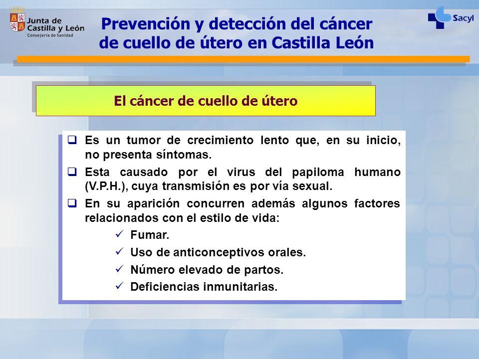 El cáncer de cuello de útero Es un tumor de crecimiento lento que, en su inicio, no presenta síntomas. Esta causado por el virus del papiloma humano (