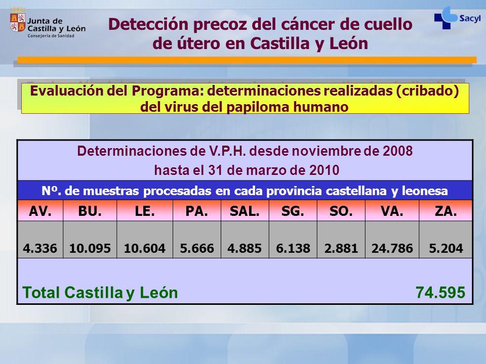 Evaluación del Programa: determinaciones realizadas (cribado) del virus del papiloma humano Detección precoz del cáncer de cuello de útero en Castilla