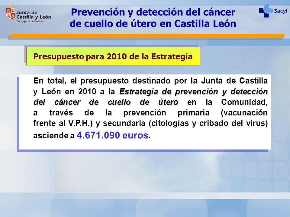 Estrategia de prevención y detección del cáncer de cuello de útero En total, el presupuesto destinado por la Junta de Castilla y León en 2010 a la Est