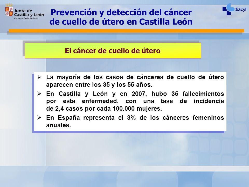 El cáncer de cuello de útero La mayoría de los casos de cánceres de cuello de útero aparecen entre los 35 y los 55 años. En Castilla y León y en 2007,