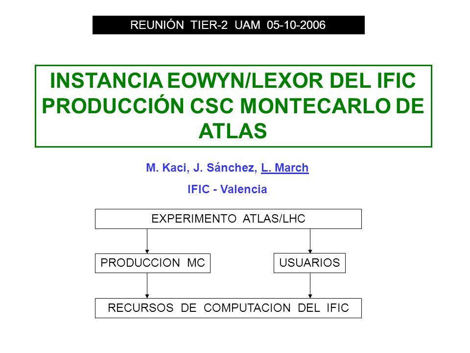 INSTANCIA EOWYN/LEXOR DEL IFIC PRODUCCIÓN CSC MONTECARLO DE ATLAS REUNIÓN TIER-2 UAM 05-10-2006 EXPERIMENTO ATLAS/LHC PRODUCCION MC USUARIOS RECURSOS DE COMPUTACION DEL IFIC M.