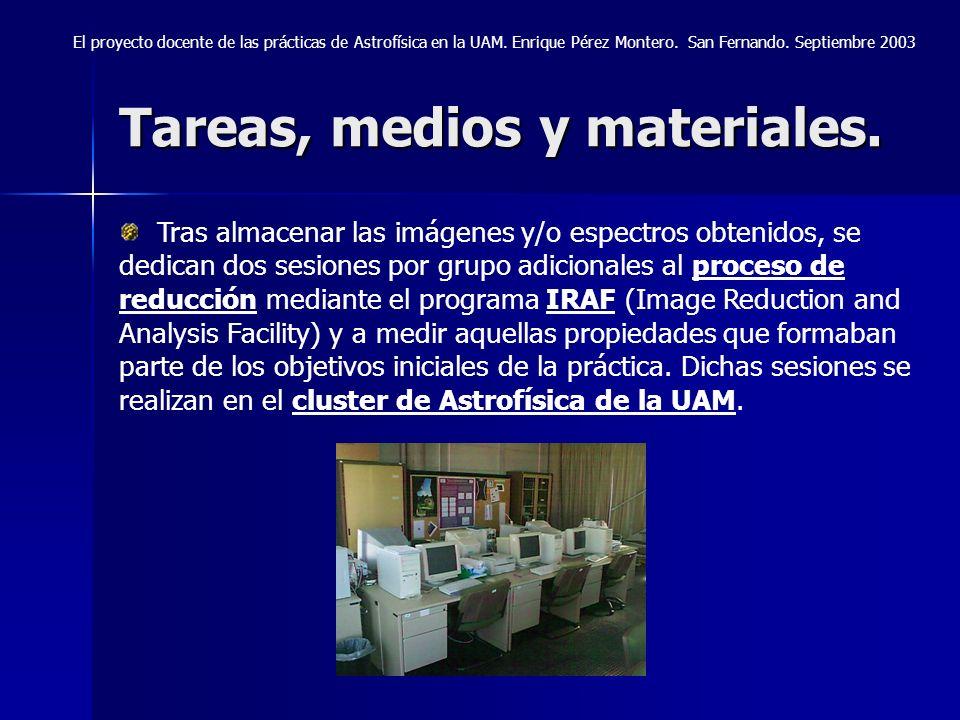 Tareas, medios y materiales. El proyecto docente de las prácticas de Astrofísica en la UAM. Enrique Pérez Montero. San Fernando. Septiembre 2003 Tras