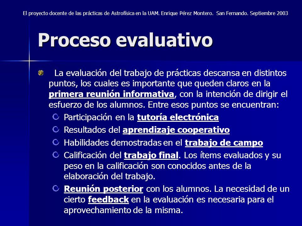 Proceso evaluativo El proyecto docente de las prácticas de Astrofísica en la UAM. Enrique Pérez Montero. San Fernando. Septiembre 2003 La evaluación d