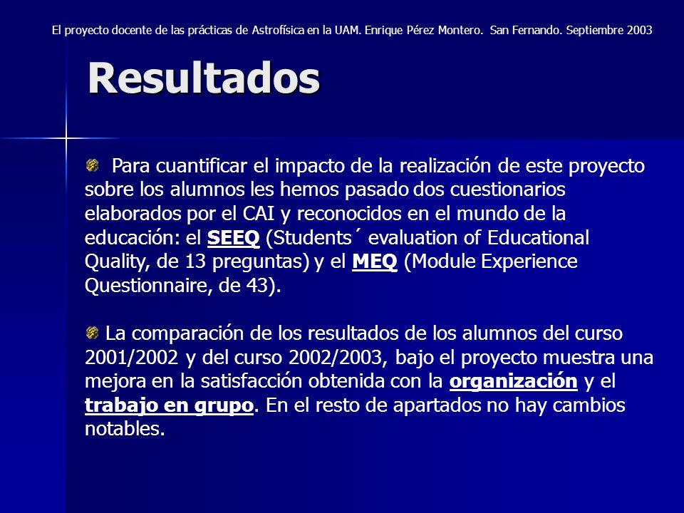 Resultados El proyecto docente de las prácticas de Astrofísica en la UAM. Enrique Pérez Montero. San Fernando. Septiembre 2003 Para cuantificar el imp