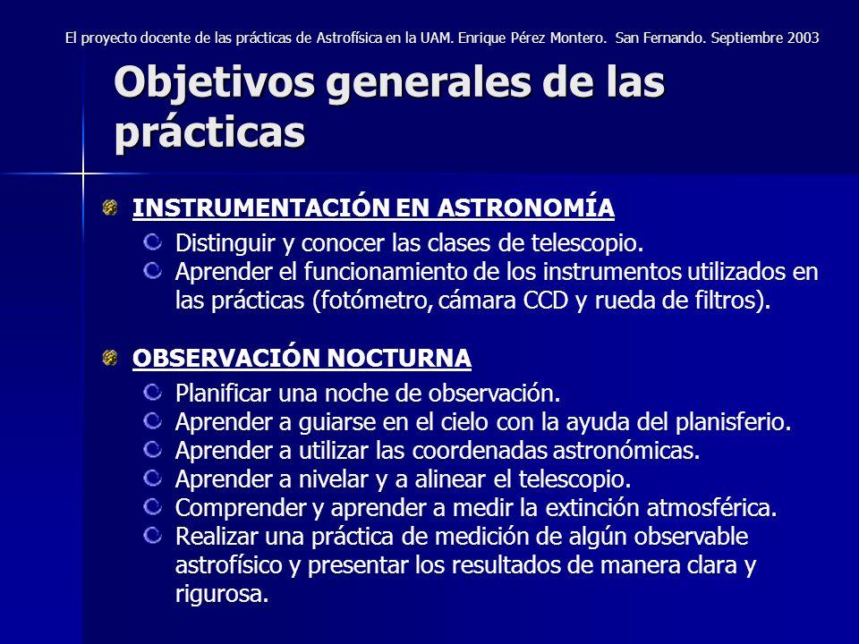 Objetivos generales de las prácticas INSTRUMENTACIÓN EN ASTRONOMÍA Distinguir y conocer las clases de telescopio. Aprender el funcionamiento de los in