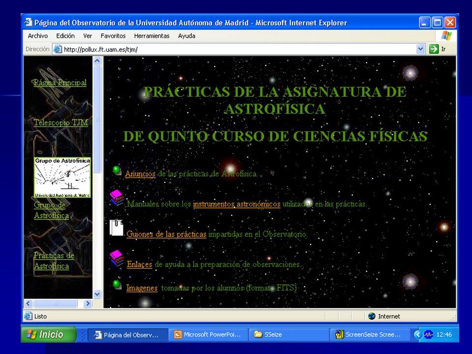 Tareas, medios y materiales.El proyecto docente de las prácticas de Astrofísica en la UAM.