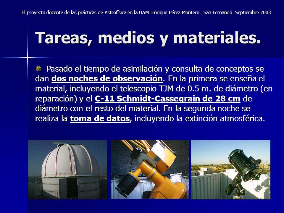 Tareas, medios y materiales. El proyecto docente de las prácticas de Astrofísica en la UAM. Enrique Pérez Montero. San Fernando. Septiembre 2003 Pasad