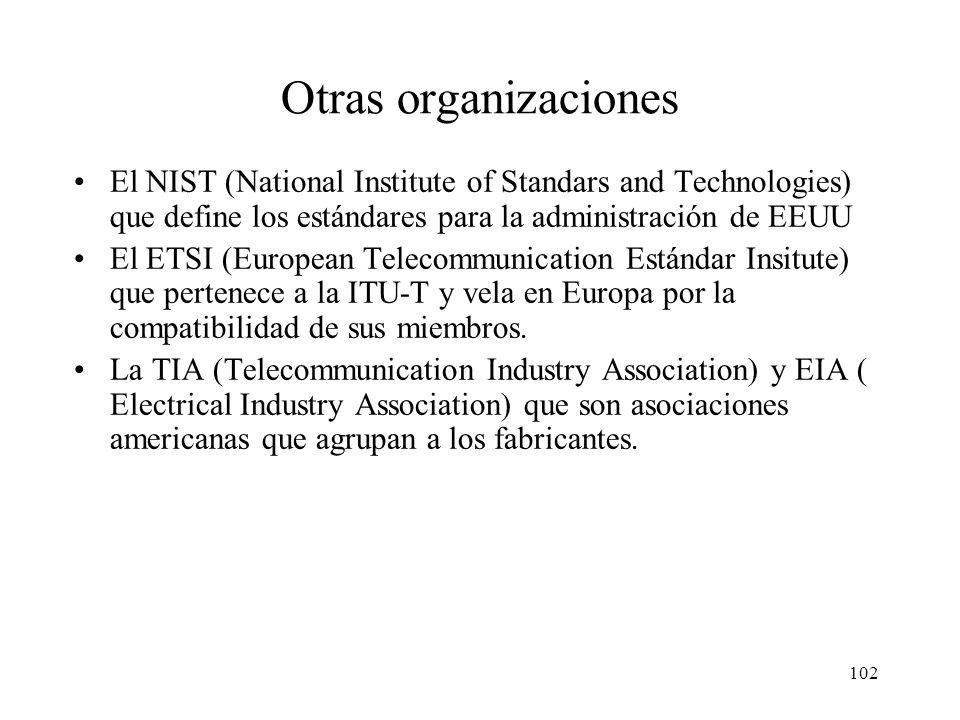 101 Otras organizaciones El IEEE (Institute of Electrical and Electronic Engineers) –Asociación profesional de ámbito internacional –Elabora los están