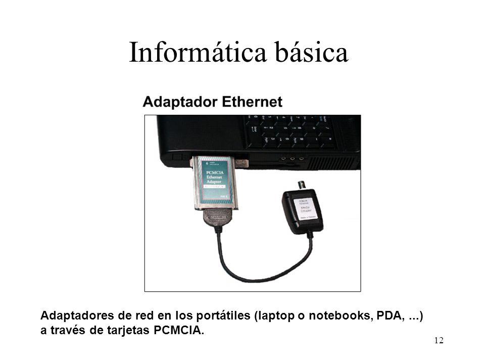 11 Informática básica Network Interface Card: utiliza IRQ (interruption request) para avisar de algún Acontecimiento, una dirección de E/S y una direc