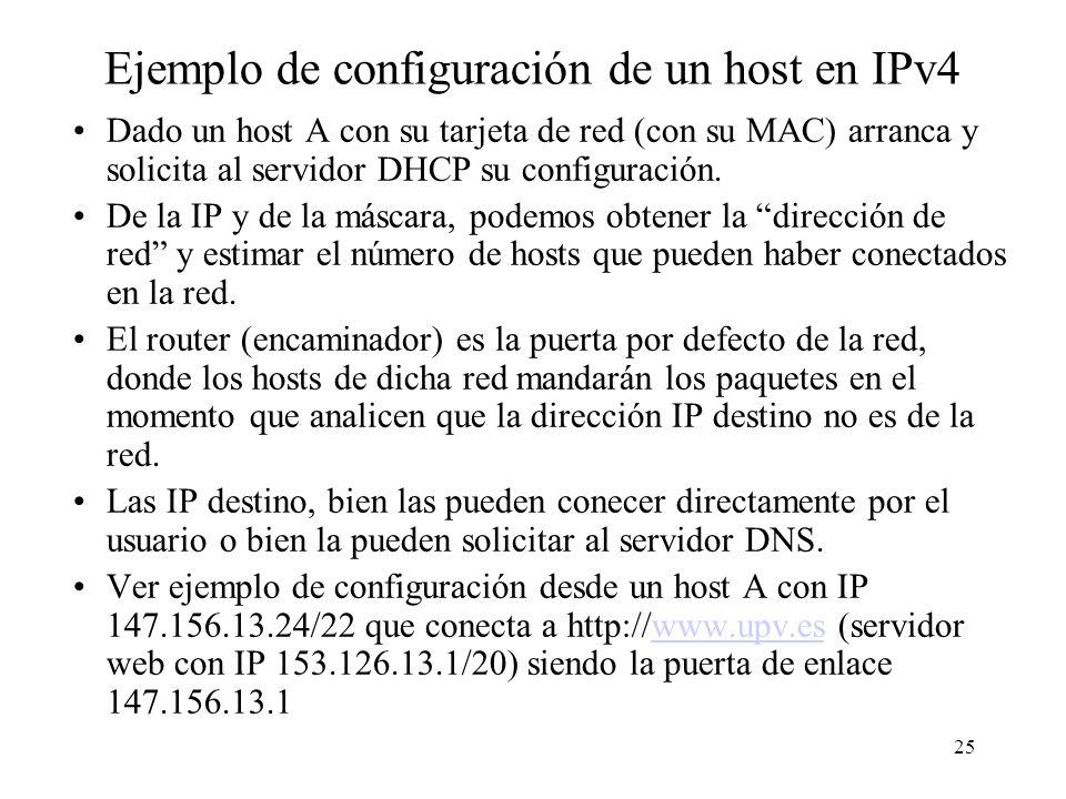 24 Configuración de PC (host) Configuración de la tarjeta de red: –Dirección IP y máscara (comandos winipcfg en Win98, ipconfig en Win2k, ifconfig en