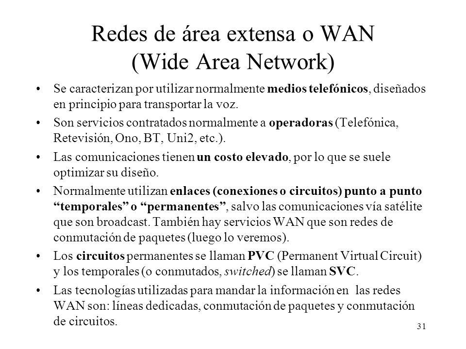 30 Topologías LAN típicas Bus (Ethernet) Anillo (Token Ring, FDDI) Cable Ordenador (Host) Cable Topología = forma o diseño La topología en bus tiene p