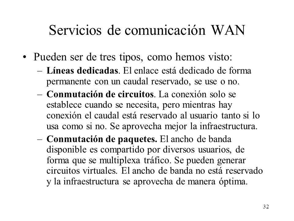 31 Redes de área extensa o WAN (Wide Area Network) Se caracterizan por utilizar normalmente medios telefónicos, diseñados en principio para transporta