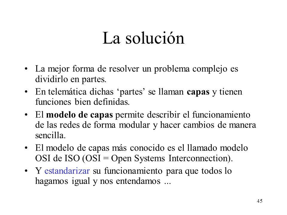 44 Planteamiento del problema RETOMEMOS EL PROBLEMA DE INTERNET... La interconexión de ordenadores es un problema técnico de complejidad elevada. Requ