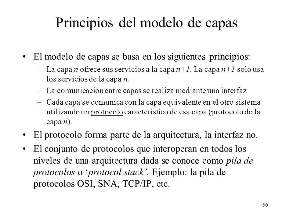 55 Modelo de capas Actualmente todas las arquitecturas de red se describen utilizando un modelo de capas. El más conocido es el denominado Modelo de R