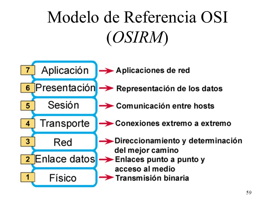 58 Capa N Servicios utilizados de la capa N-1 Servicios ofrecidos a la capa N+1 Comunicación con la entidad homóloga mediante el protocolo de la capa
