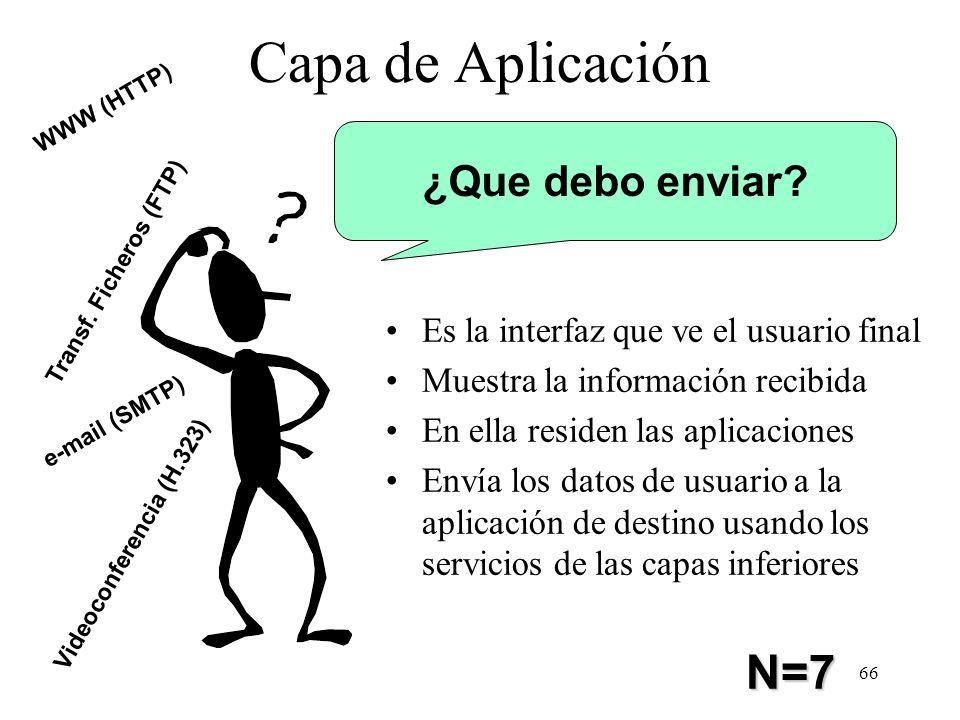 65 Capa de Presentación Convierte los datos de la red al formato requerido por la aplicación N=6
