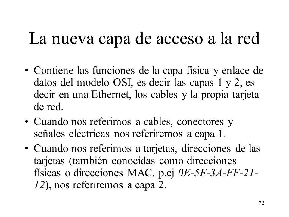 71 Modelo de referencia TCP/IP FTP: file transfer protocol, HTTP: HyperText Transfer Protocol, SMTP: Simple Mail Transfer Protocol, TFTP: Trivial FTP,