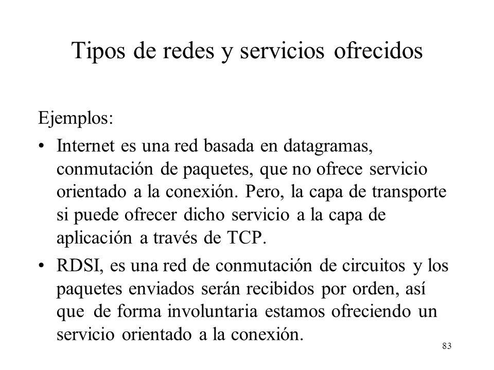 82 Tipo de servicios ofrecidos Aparte de las técnicas para mandar la información, es de destacar, el tipo de servicio ofrecido de cara al usuario, que
