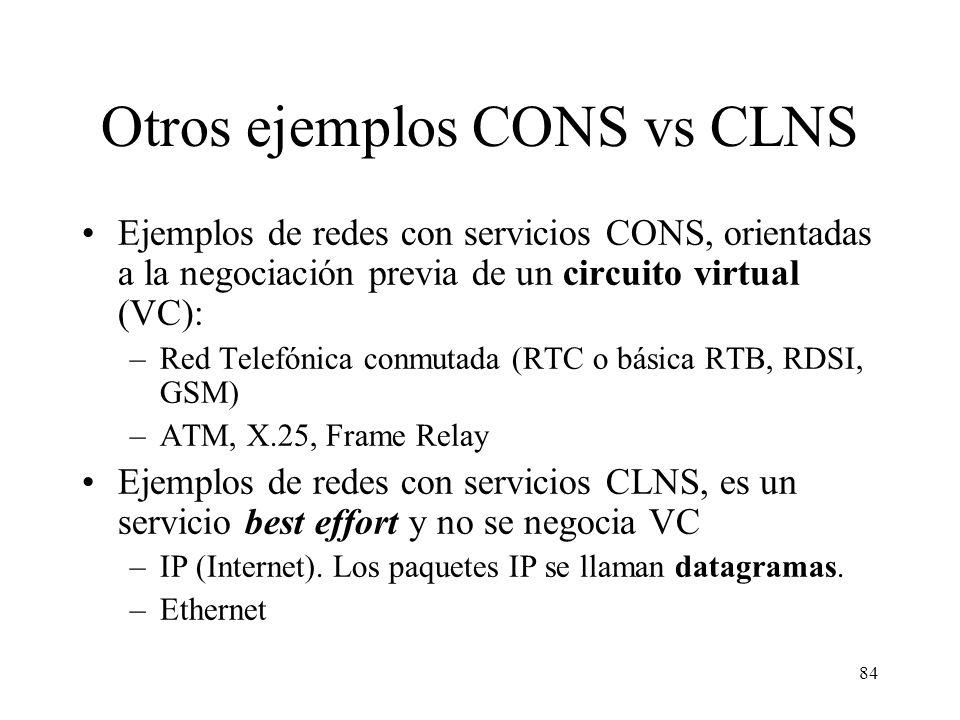83 Tipos de redes y servicios ofrecidos Ejemplos: Internet es una red basada en datagramas, conmutación de paquetes, que no ofrece servicio orientado