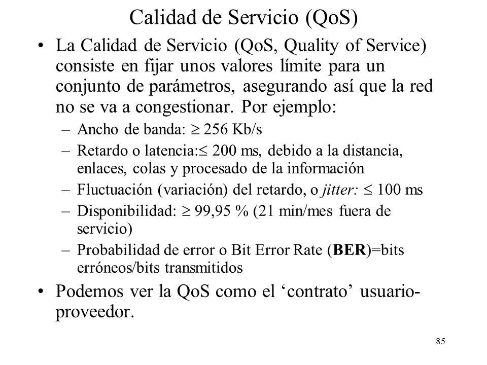84 Otros ejemplos CONS vs CLNS Ejemplos de redes con servicios CONS, orientadas a la negociación previa de un circuito virtual (VC): –Red Telefónica c