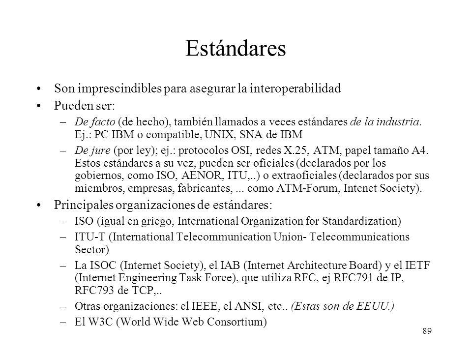 88 Estándares Al principio cada fabricante especificaba sus propios protocolos: –SNA (IBM) System Network Architecture –Appletalk (Apple) protocolo de