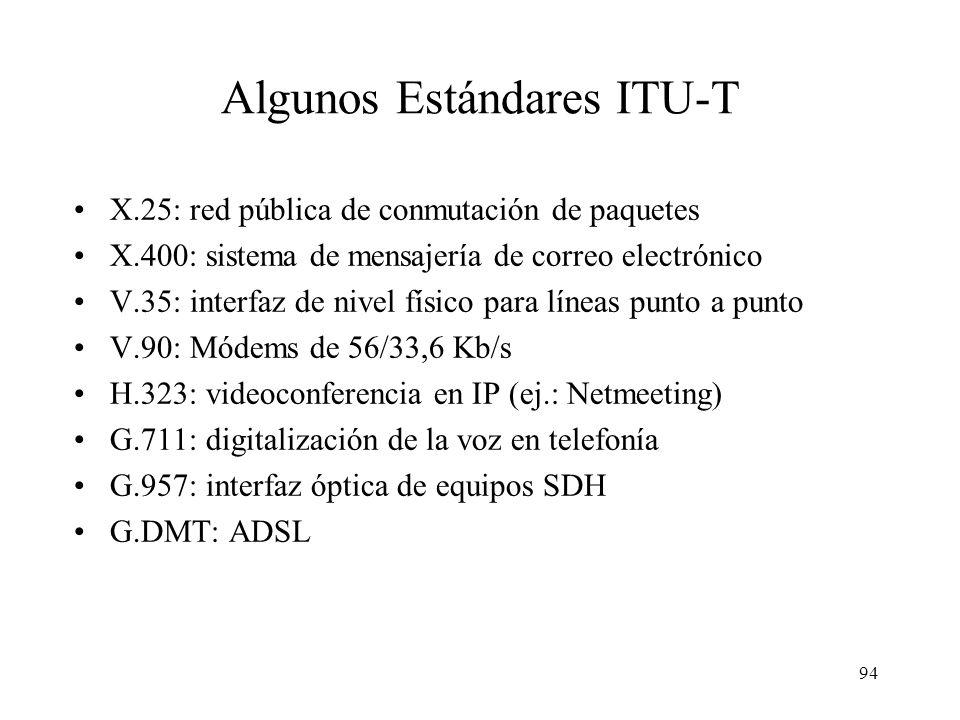 93 ITU-T: International Telecommunications Union – Sector Telecomunicaciones Creada en 1934 y desde 1947 pertenece a la ONU. Redacta recomendaciones,