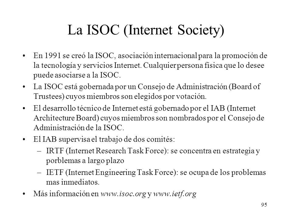 94 Algunos Estándares ITU-T X.25: red pública de conmutación de paquetes X.400: sistema de mensajería de correo electrónico V.35: interfaz de nivel fí