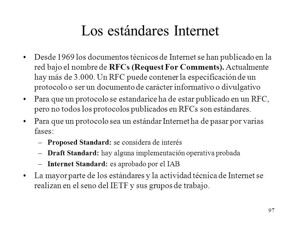 96 Organización del trabajo técnico en Internet IRSG IESG area 1area n Grupos de investigación............ Grupos de trabajo IAB IRTF IETF IAB: Intern