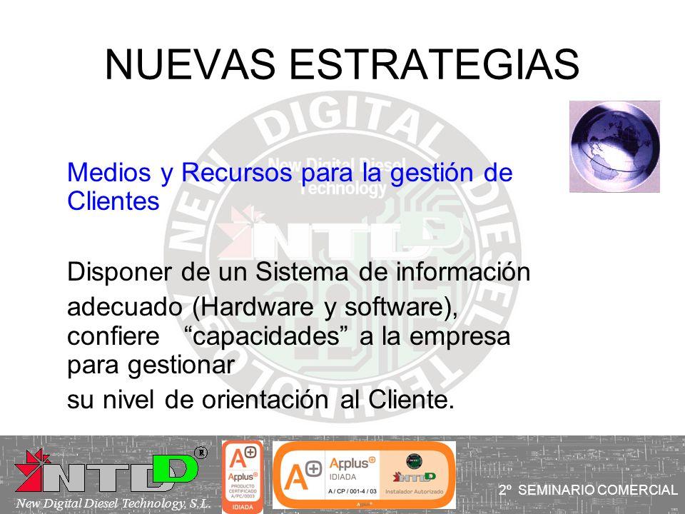 NUEVAS ESTRATEGIAS Medios y Recursos para la gestión de Clientes Disponer de un Sistema de información adecuado (Hardware y software), confiere capaci