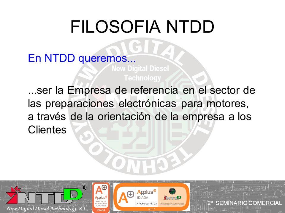 FILOSOFIA NTDD En NTDD queremos......ser la Empresa de referencia en el sector de las preparaciones electrónicas para motores, a través de la orientac